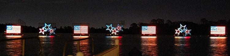 Stars and Flags floats in the Electric Water Pageant at Disney World