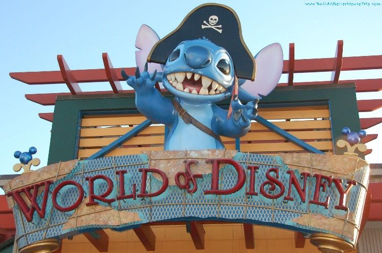 Pirate Stitch on the World of Disney sign at Disney Springs (formerly Downtown Disney) Marketplace in Orlando, FL