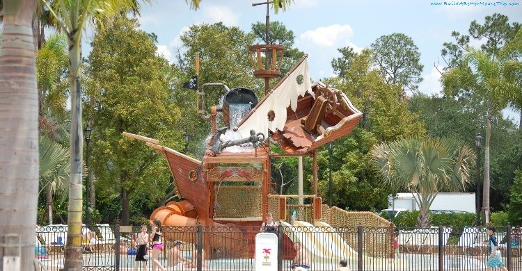 Finding Pirates at Disney World - Pirate Ship Splash Zone at Disney's Caribbean Beach Resort - Disneyworld
