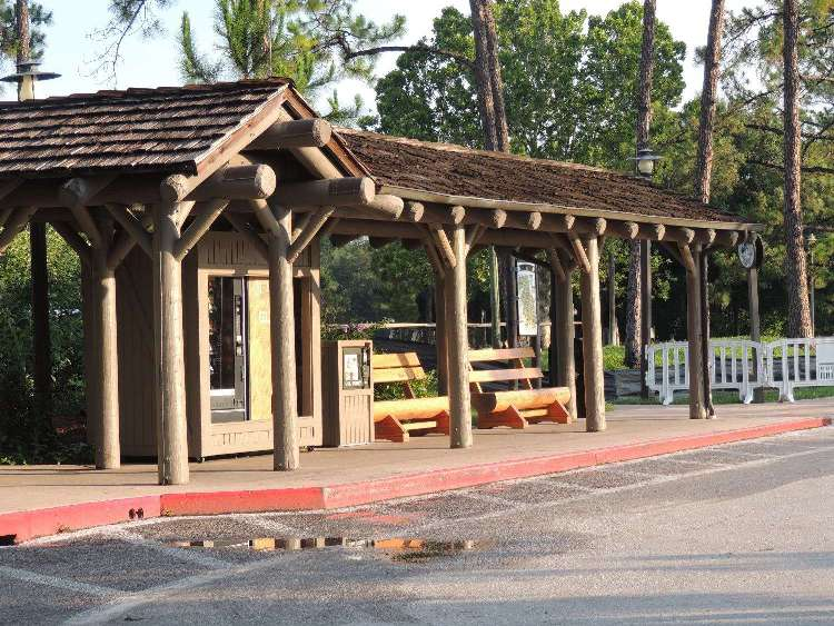 Covered bus stops throughout Disney's Ft. Wilderness Resort & Campground