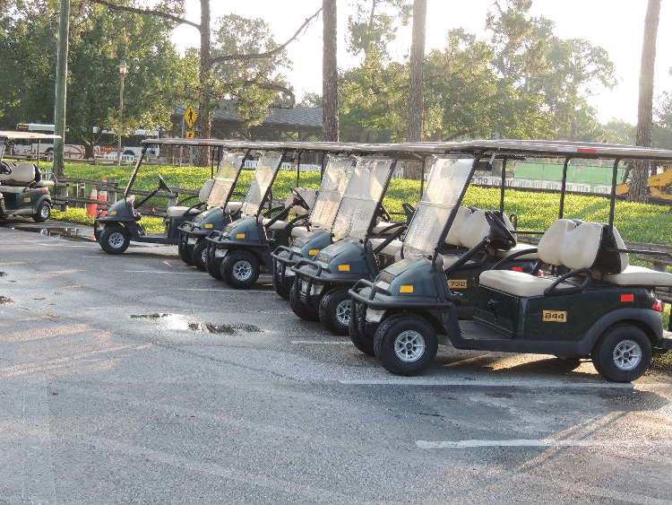 Many people rent golf carts to get around Disney's Fort Wilderness Resort and Campground