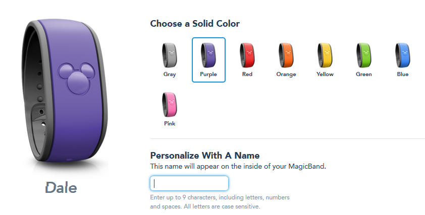 Purple Magic Bands now available as one of the custom colors available when you stay at one of the Disney World hotels.