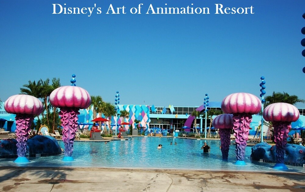THe Big Blue POOL - A huge, zero-depth entry pool with underwater speakers AT DISNEY'S Art of Animation Resort.