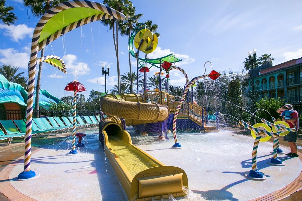 Children's Wet Play area at Disney's Port ORleans French Quarter Resort - ONE OF THE BEST SPLASH ZONES OF THE DISNEY WORLD HOTELS, MODERATE RESORT CATEGORY.