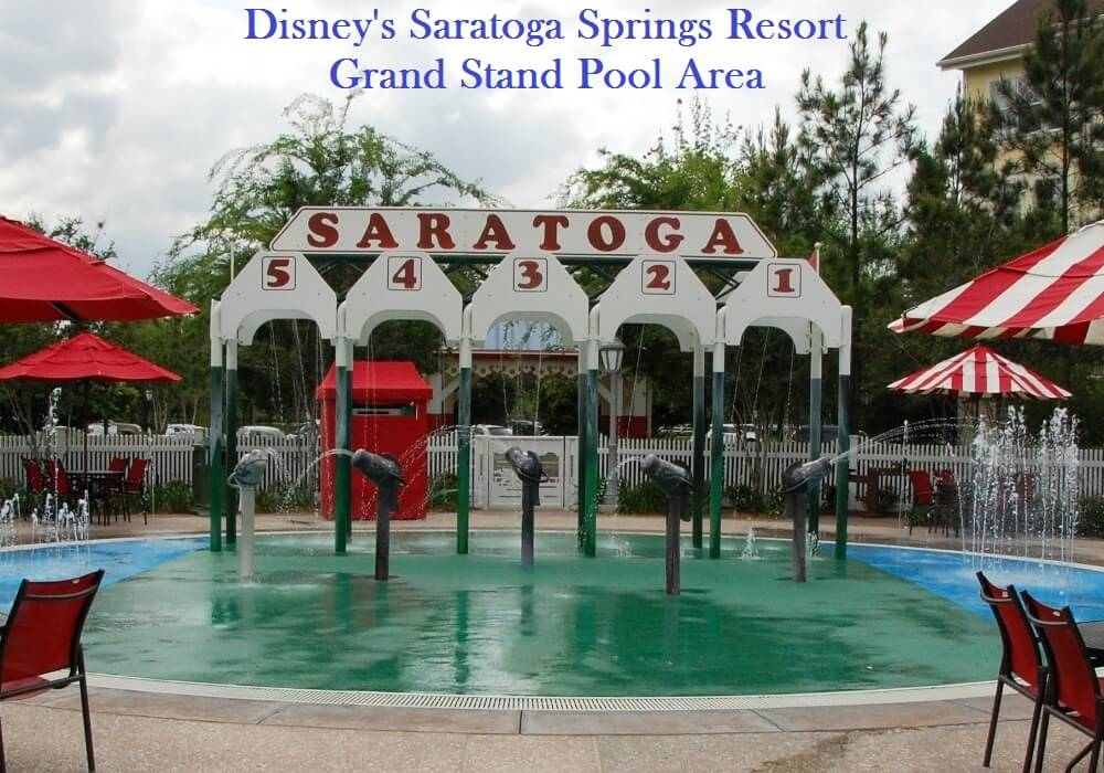 THE Grand Stand Pool's WET PLAY AREA IN THE AT DISNEY'S Saratoga Springs REsort - ONE OF THE BEST SPLASH ZONES OF THE DISNEY WORLD HOTELS, DELUXE RESORT CATEGORY.