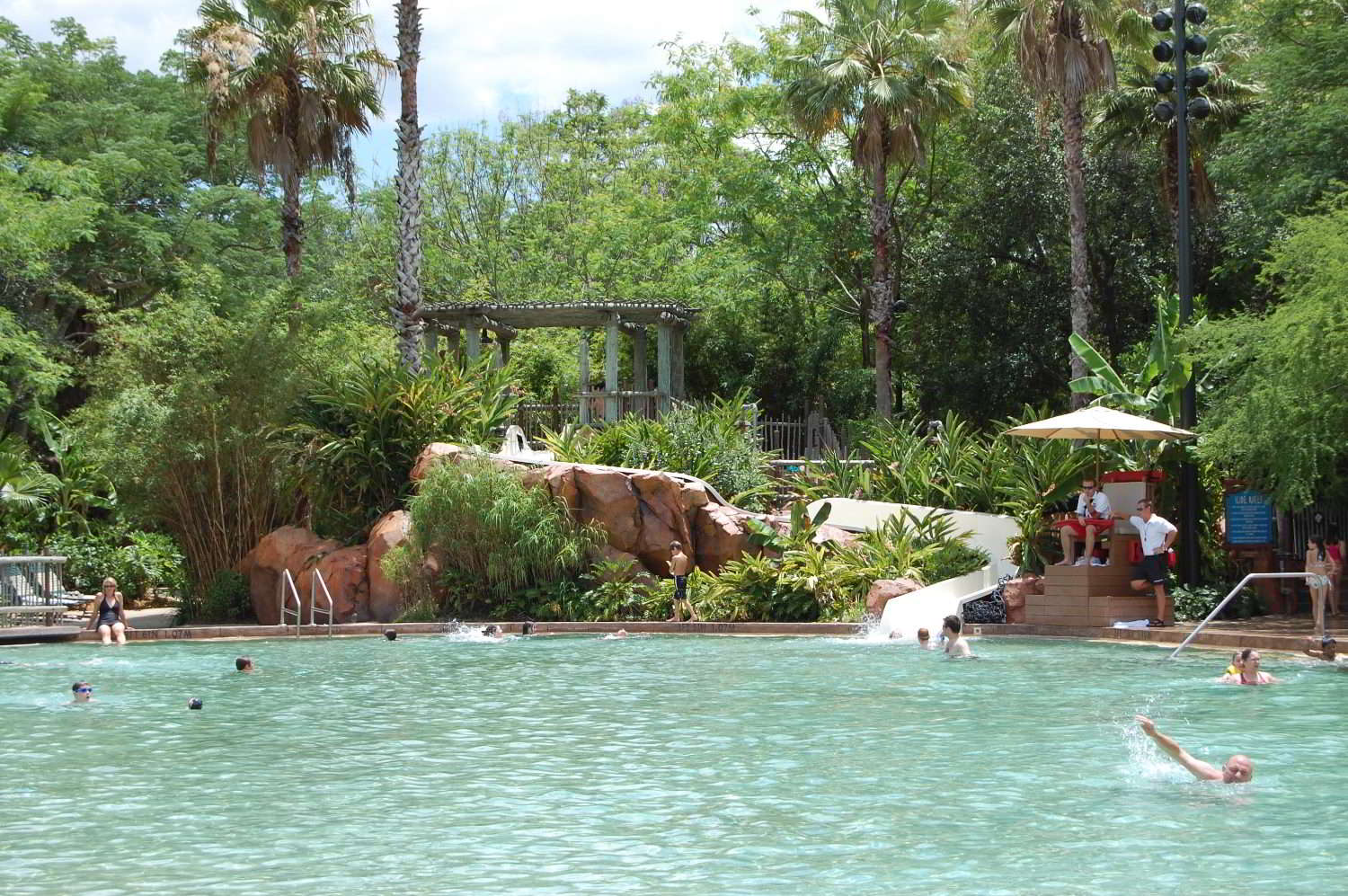 Disney's Animal Kingdom Lodge features a beautifully landscaped, zero-depth entry pool with slide and a smaller wading pool for little ones.
