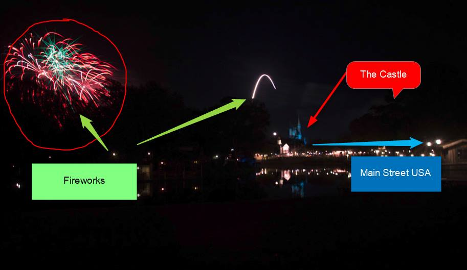 Disney World Advice - Tips for watching the Wishes Fireworks in the Magic Kingdom at Disney World. Here is a side view of Wishes (Christmas Wishes to be exact!). You can see how far away some of the fireworks really are!