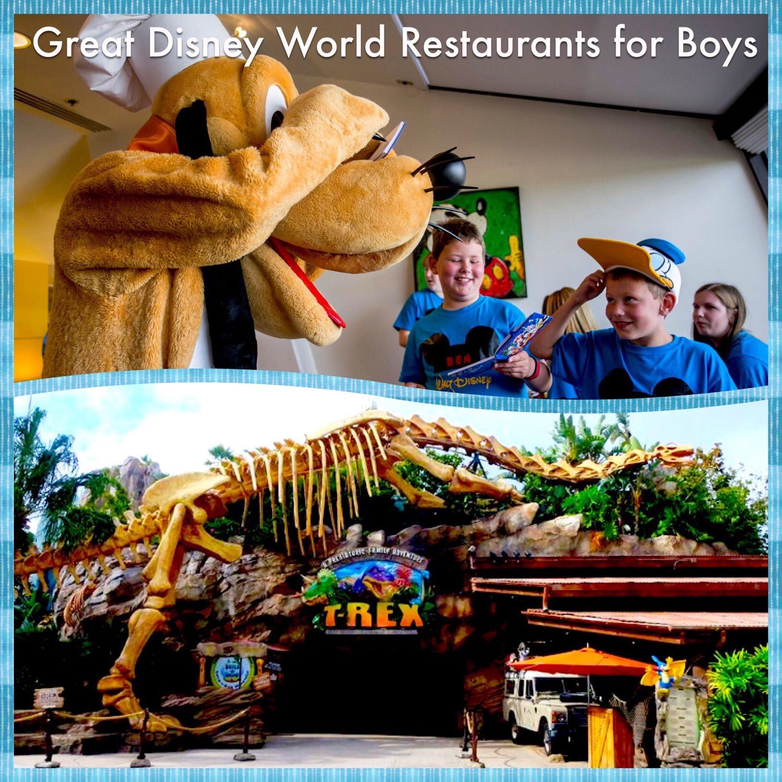 Great Disney World Restaurants and Dining Experiences for boys - includes character meals and fun dining locations.