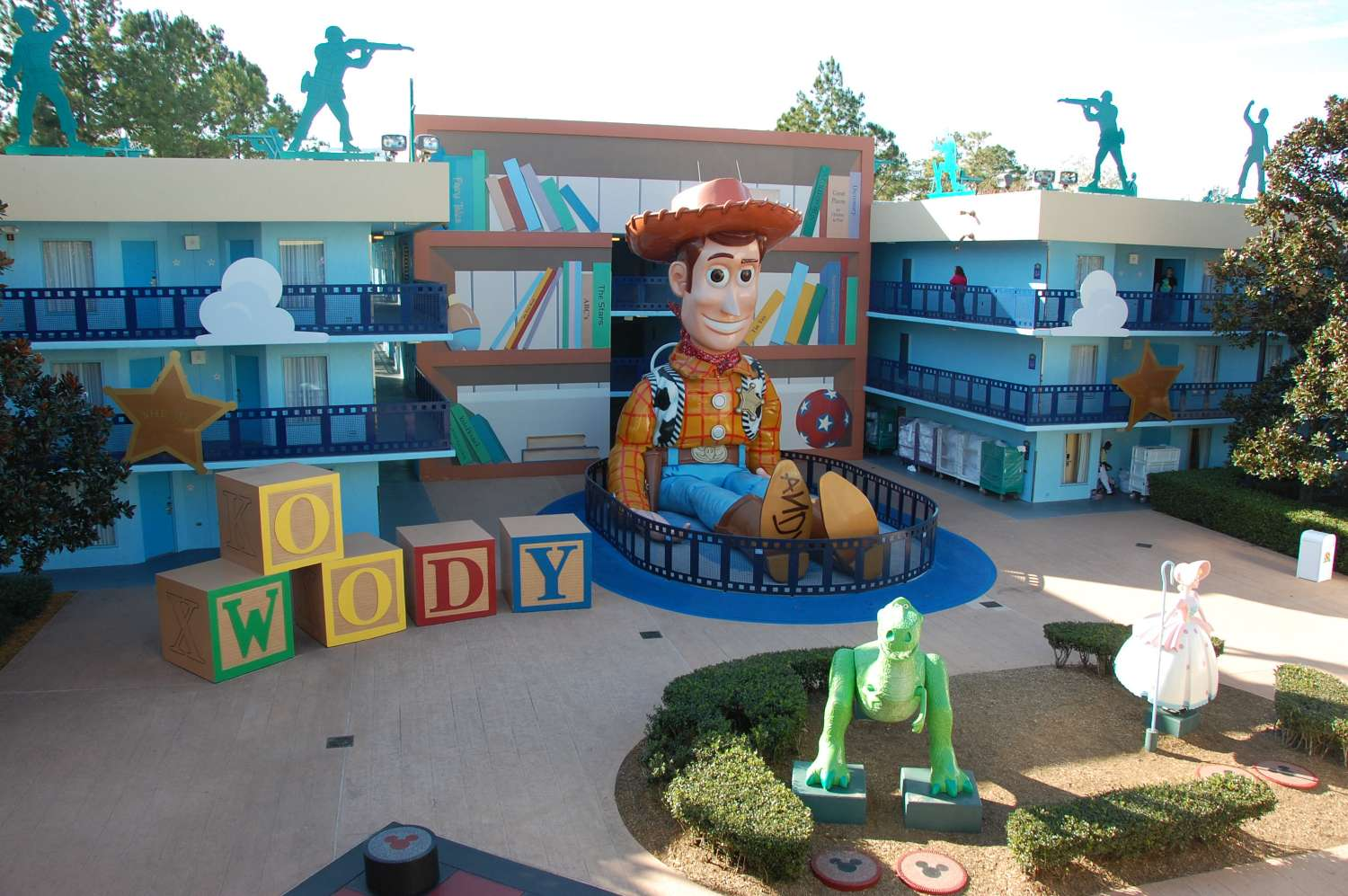 Woody building in the Toy Story section  at Disney's All-Star Movies Resort