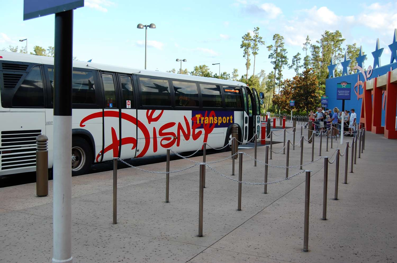 Complimentary bus transportation to the Disney World theme parks at Disney's All-Star Movies Resort