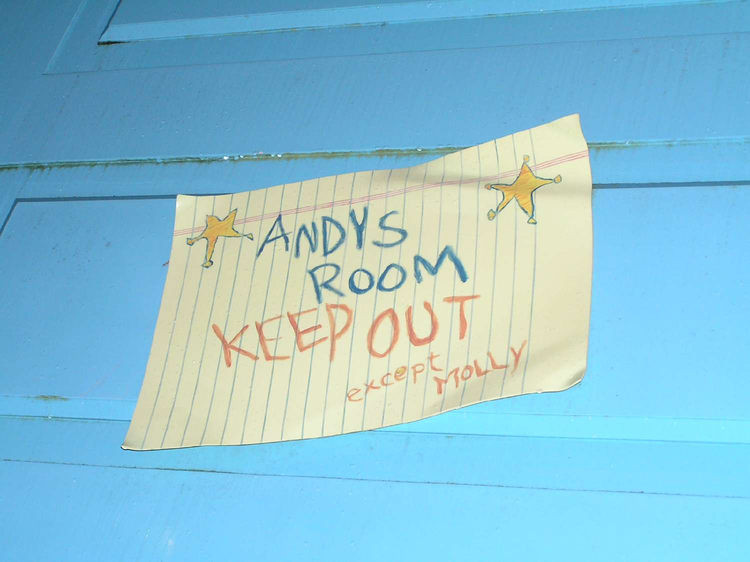Andy's Room sign at the Toy Story buildings at Disney's All-Star Movies Resort