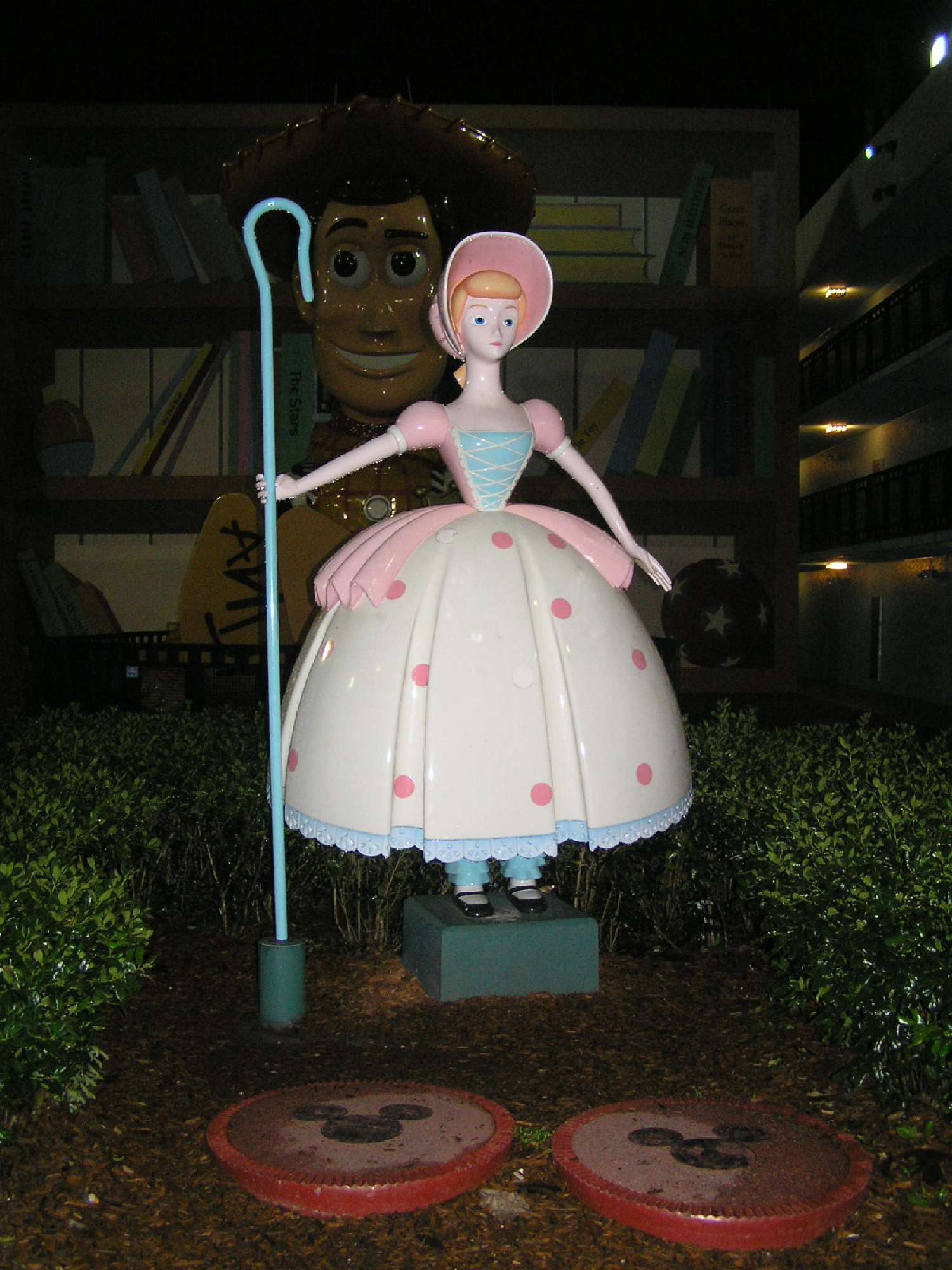 Little Bo Peep outside the Toy Story buildings at Disney's All-Star Movies Resort