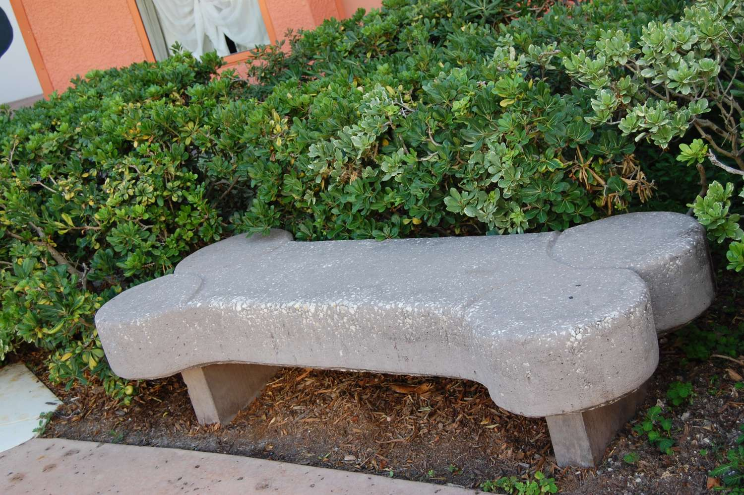 Bone park bench at the 101 Dalmatians buildings at Disney's All-Star Movies Resort