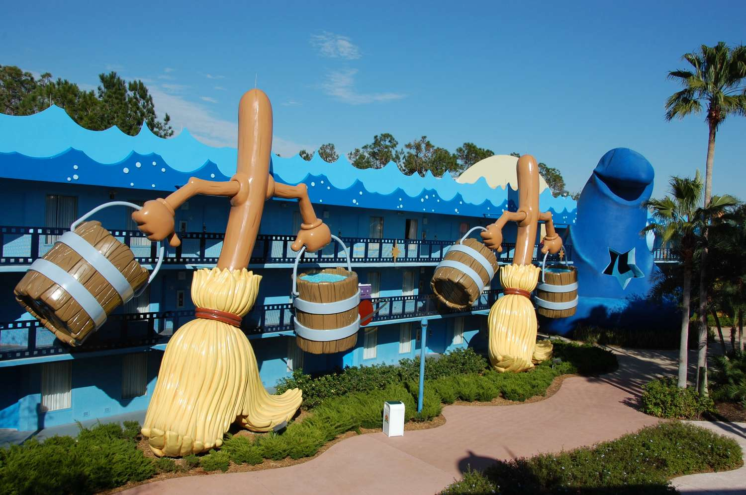 Brooms in the Fantasia area of Disney's All-Star Movies Resort