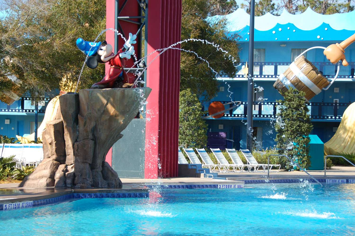 Sorcerer Mickey fountain at the Fantasia pool  at Disney's All-Star Movies Resort