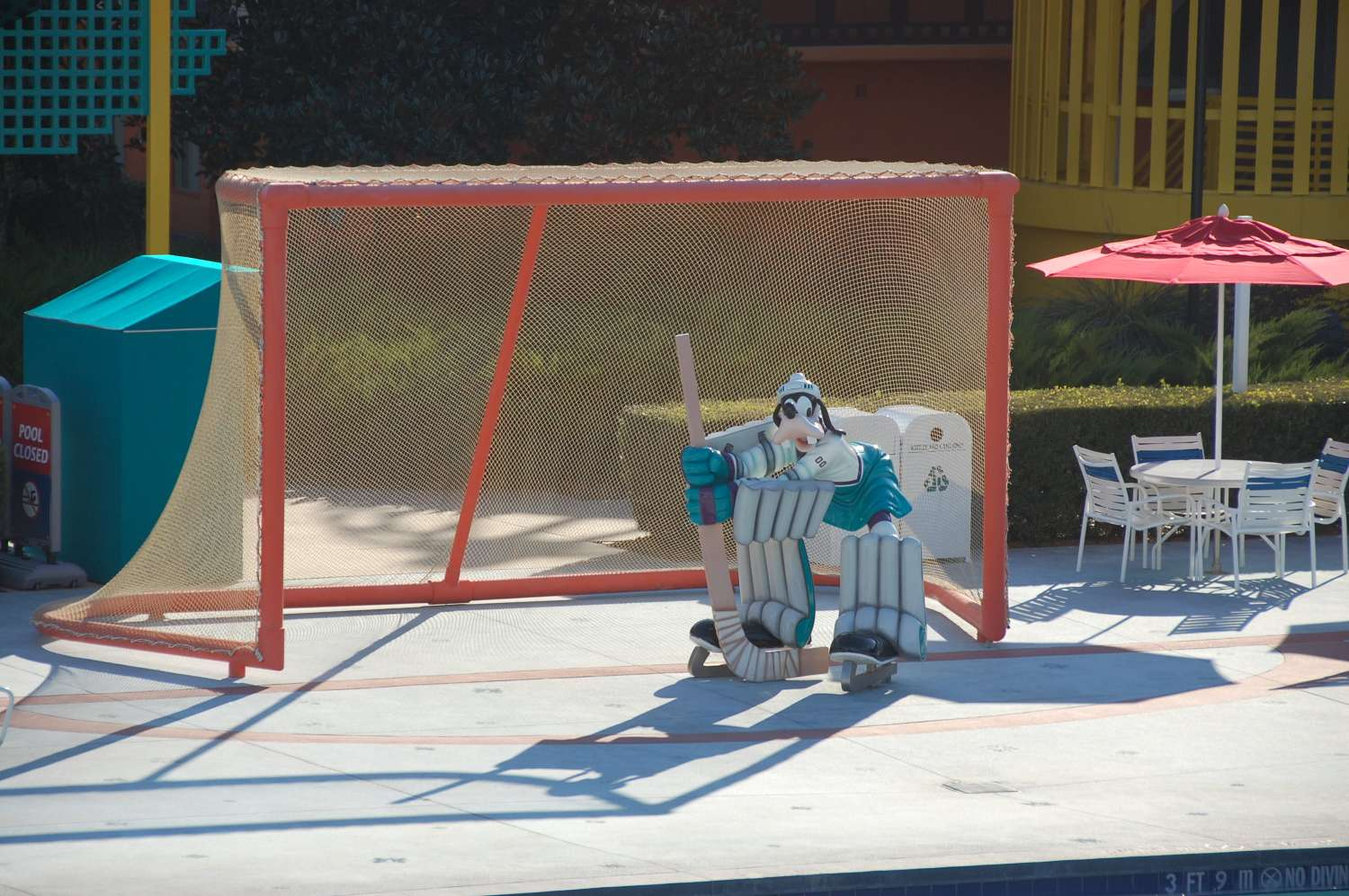 Hocky goalie Goofy near the Duck Pond pool at  Disney's All-Star Movies Resort