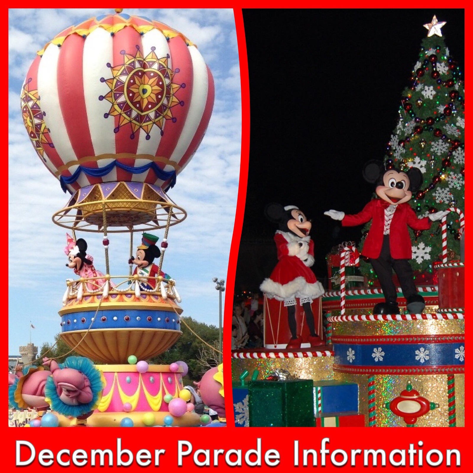 Information about changes to the December parade schedule in the Magic Kingdom at Disney World - includes information about Mickey's Once Upon A Christmastime Parade and Festival of Fantasy Parade as well as Fantasy in the Sky fireworks on New Year's Eve.
