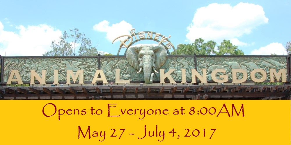 Early openings at Disney's Animal Kingdom park for the general public from May 27 - July 4, 2017 in celebration of the opening of Pandora - The World of Avatar.