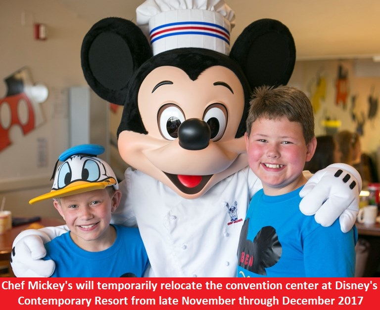 Due to refurbishments, Chef Mickey's Restaurant will temporarily relocate to the Convention Center at Disney's Contemporary Resort from late November through December 2017.