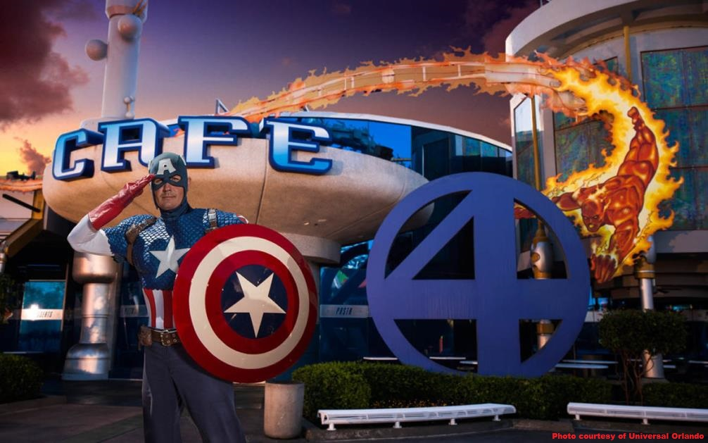 Dine with your favorite Marvel Super Heros at the Marvel Character dinner at Cafe 4 in Universal's Islands of Adventure park at Universal Orlando.
