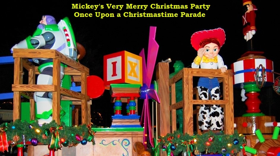 Toy Story Float in Mickey's Once Upon A Christmastime Parade at Mickey's Very Merry Christmas Party in the Magic Kingdom at the Walt Disney World Resort in Florida.