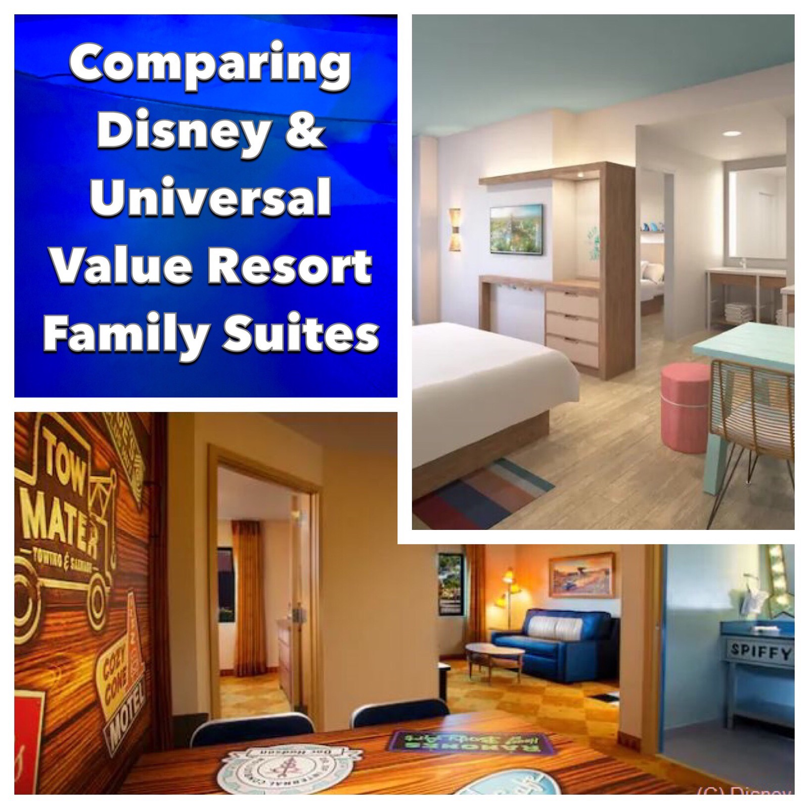 A comparison of Disney World and Universal Orlando Value Resort Family Suites - includes Disney's All-Star Music, Disney's Art of Animation, and Universal's Endless Summer Surfside Inn and Suites. #DisneyWorld #disneyhotels #UniversalOrlando