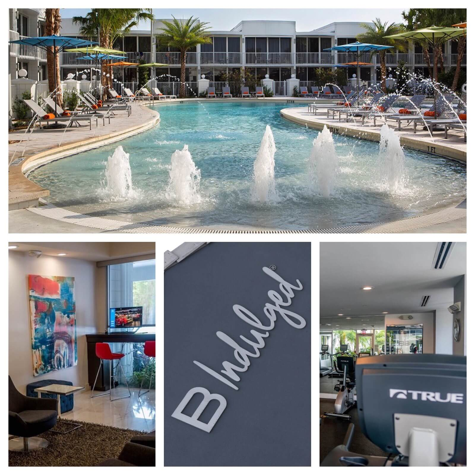 Swimming pool and amenities at B Resort and Spa - Lake Buena Vista - Disney Springs: an official Good Neighbor hotel offering exclusive Walt Disney World Resort benefits.