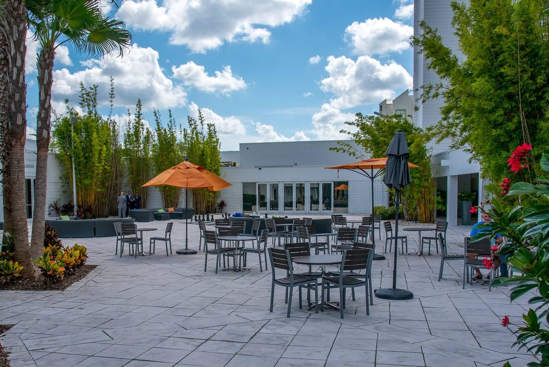Outdoor tables at B Resort - Disney Springs