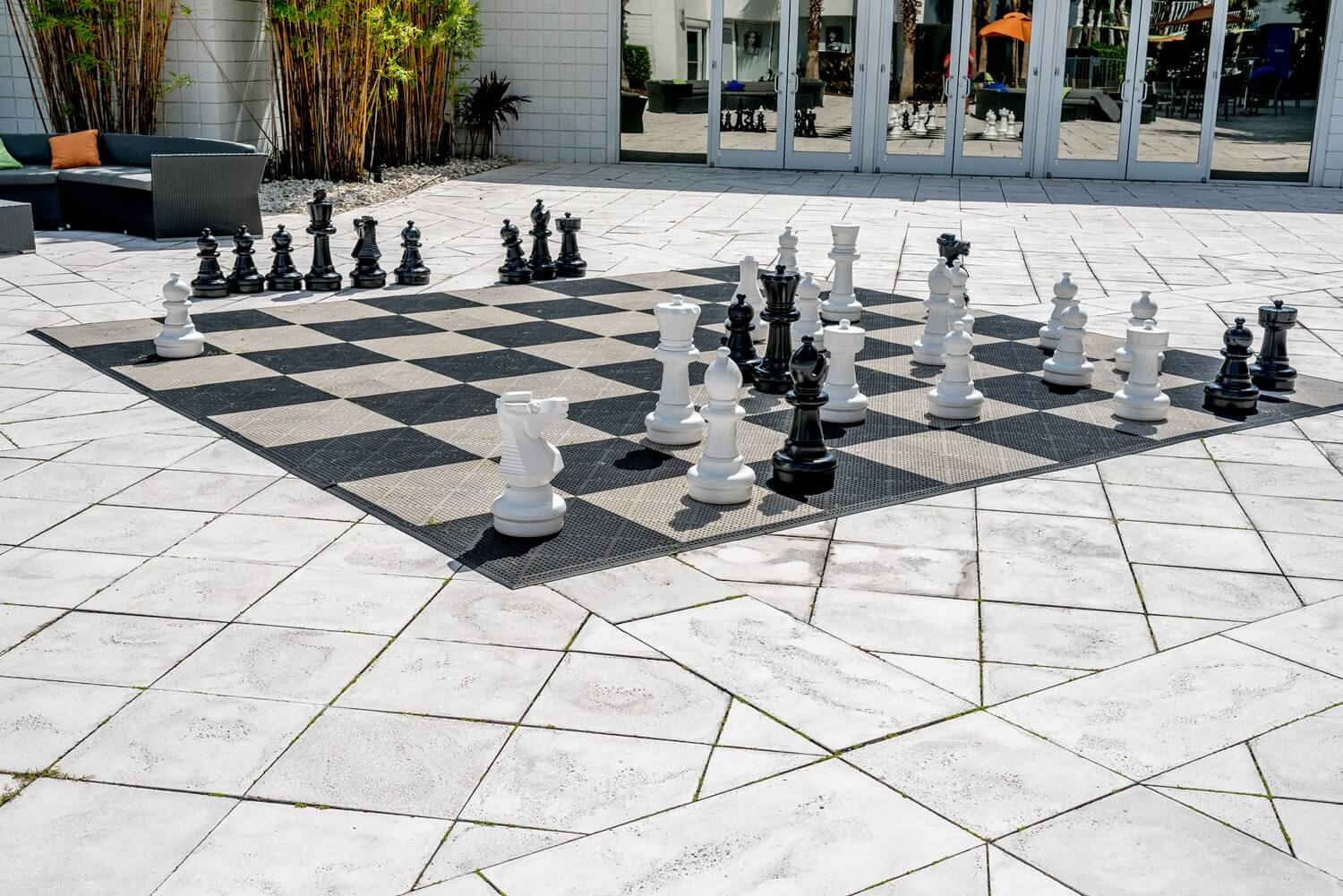Giant chess board at B Resort and Spa