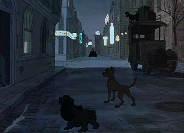 Lady and Tramp hidden in the shadows on Disney's 101 Dalmatians.