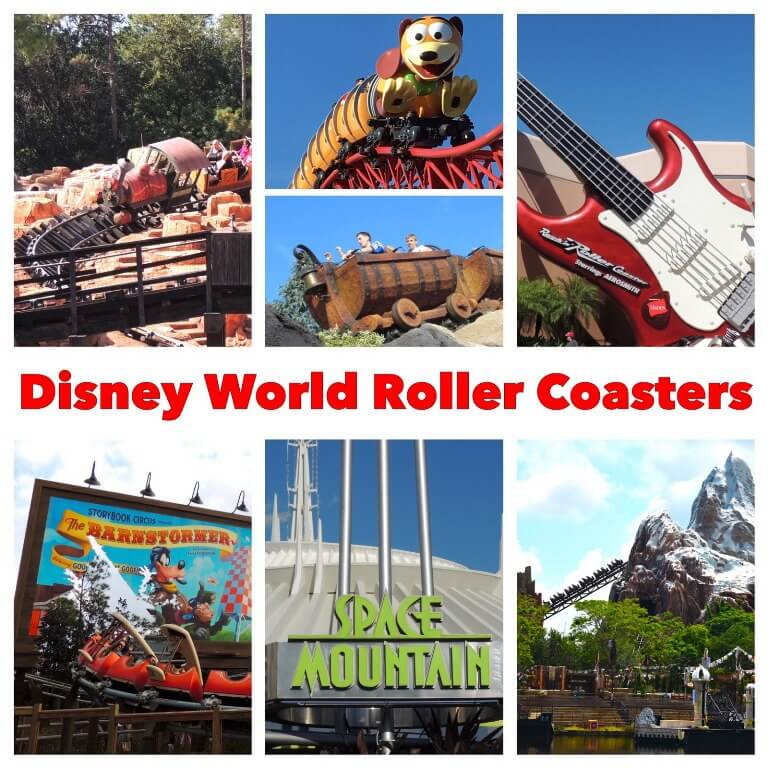 Disney World Roller Coasters from least to most intense; includes Big Thunder Mountain Railroad, The Barnstormer, Expedition Everest, Rock 'n Roller Coaster, Seven Dwarfs Mine Train, Slinky Dog Dash, and Space Mountain.