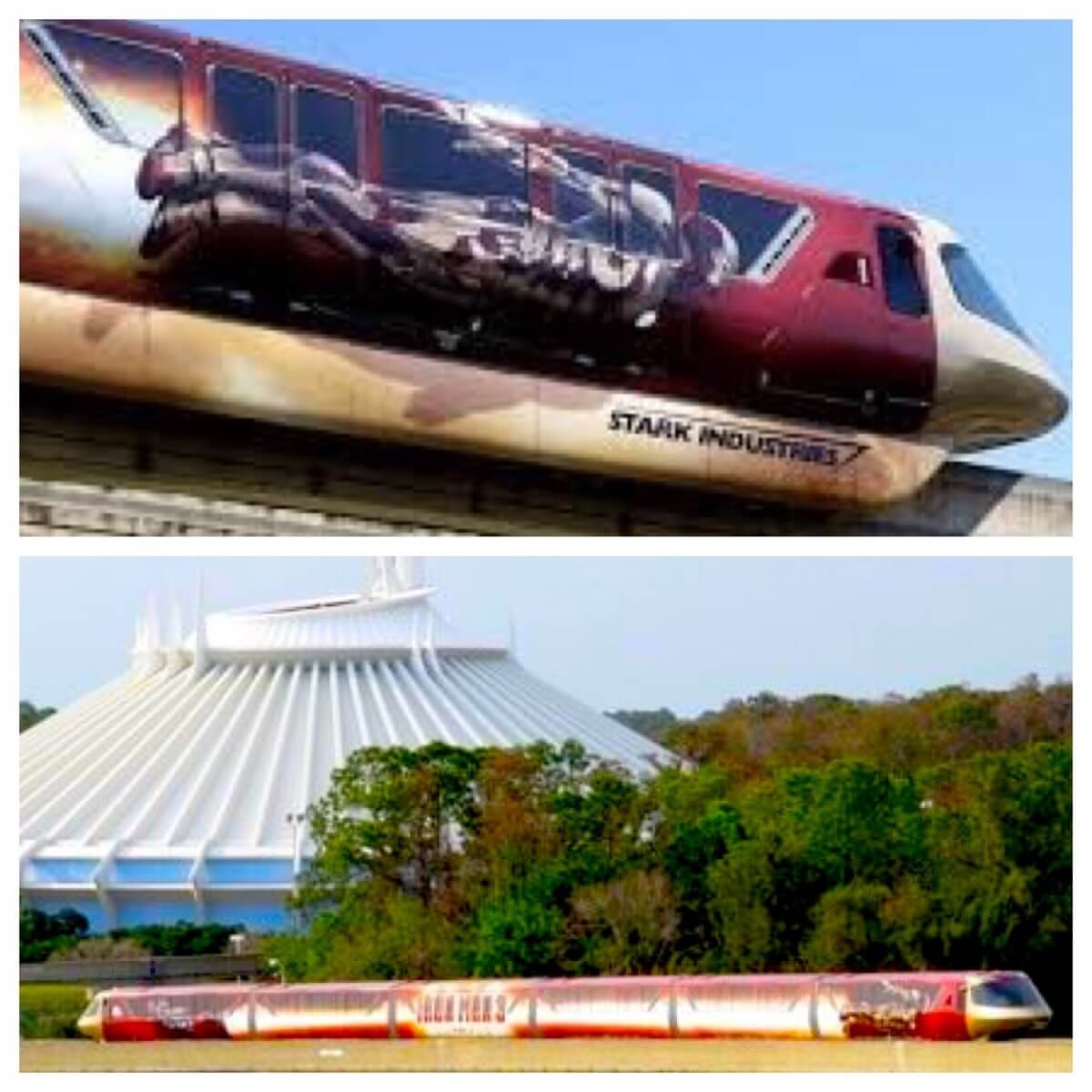 Disney History - Iron Man-orail: Disney World monorail with Iron Man 3 wrap / Stark Industries monorail