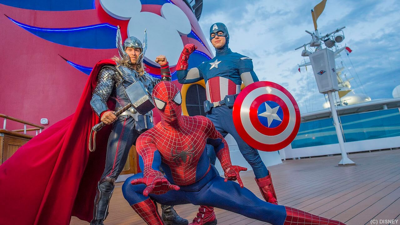 Cruise with Captain American, Spider Man, Thor and other favorite super heroes on select Disney Cruise Line sailings that include Marvel Day at Sea