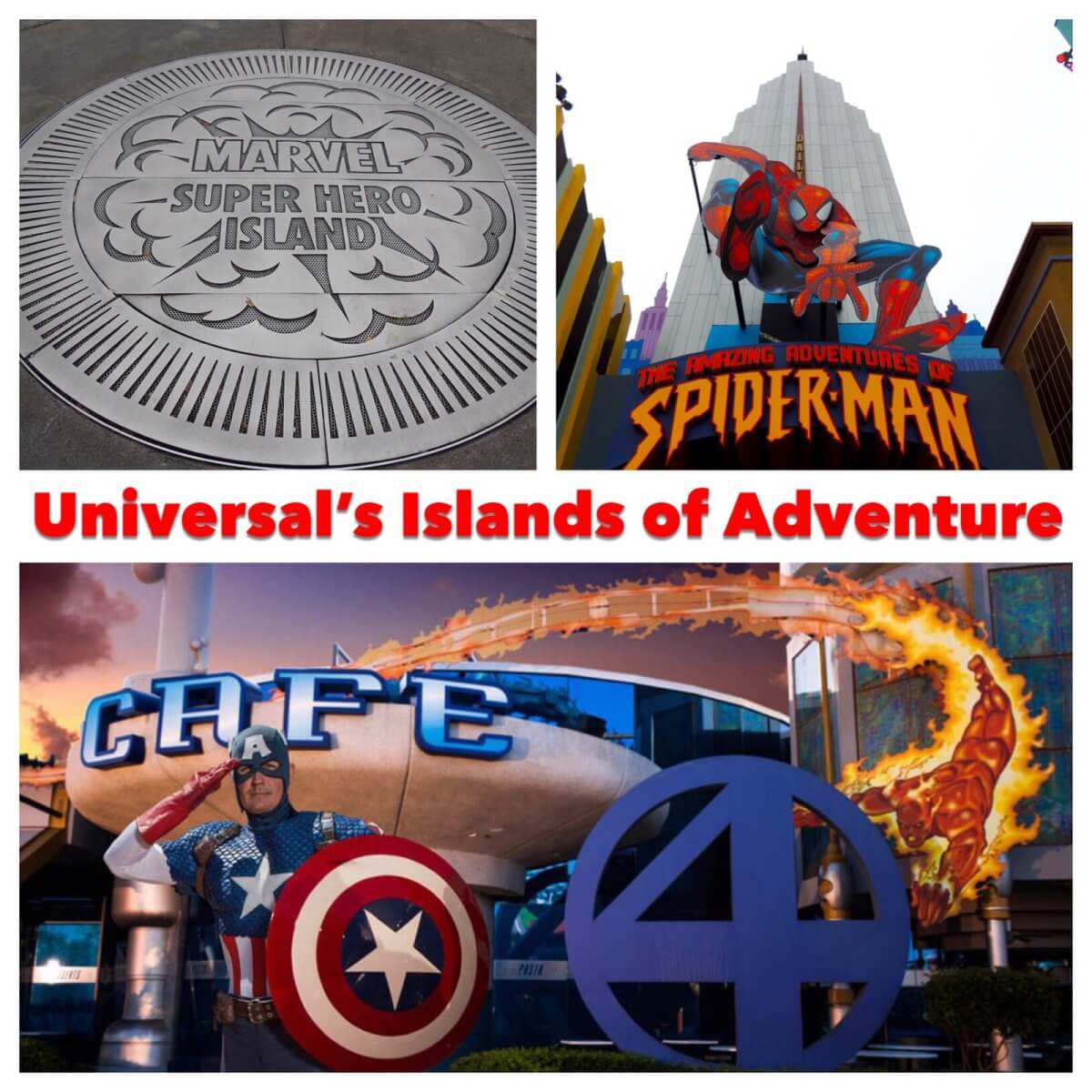 Marvel Super Hero Island at Universal's Islands of Adventure park is full of thrills and excitement.   Universal Orlando Resort - Florida.