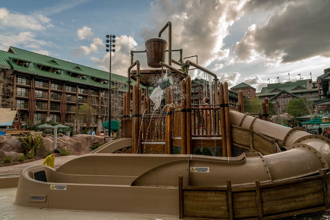 Slide side of the splash play area at Disney's Wilderness Lodge