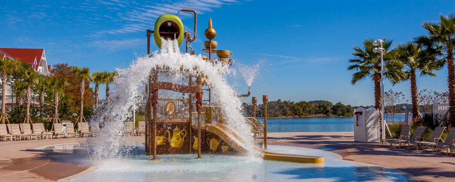 The Alice in Wonderland water play area is a fun place to cool off for young ones staying at the Grand Floridian