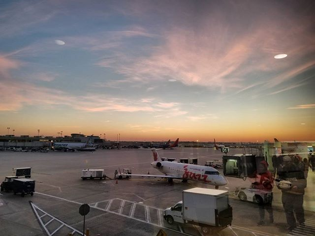 Beautiful Philadelphia Sunrise after an amazing week long photoshoot with @laraswimmer @ligeiac and @design.msrltd. It was my second time visiting Pennsylvania in late October and it just like last time the Fall foliage is mind blowing. #philly #airport #aircanada #sunrise #pink #pinksky