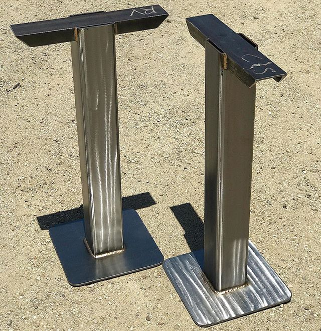 Out for delivery to my old boss @mwmason214. Table pedestals for his show room. Steel and silicon bronze fillets. #weld #siliconbronze #tigwelding #millerwelders #woodworking #venturacounty