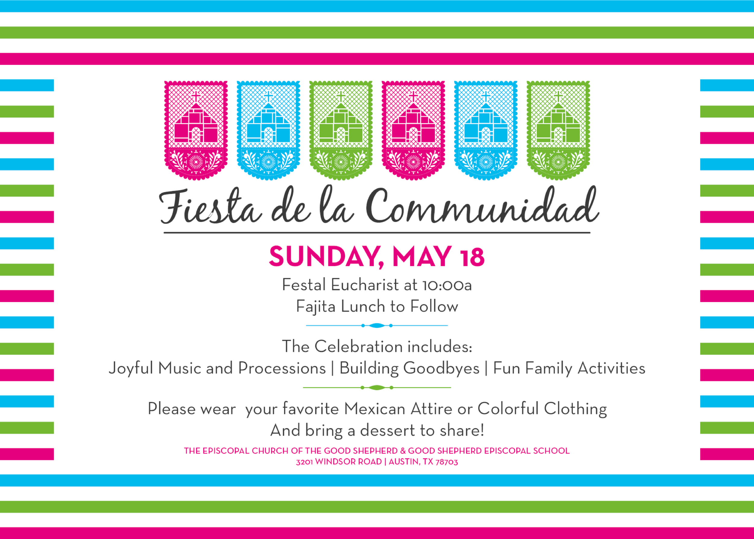 An example of invite sent out to the church community to promote a fiesta and update concerning the BBC Campaign. As a side note the copy for this was provided by the vestry.