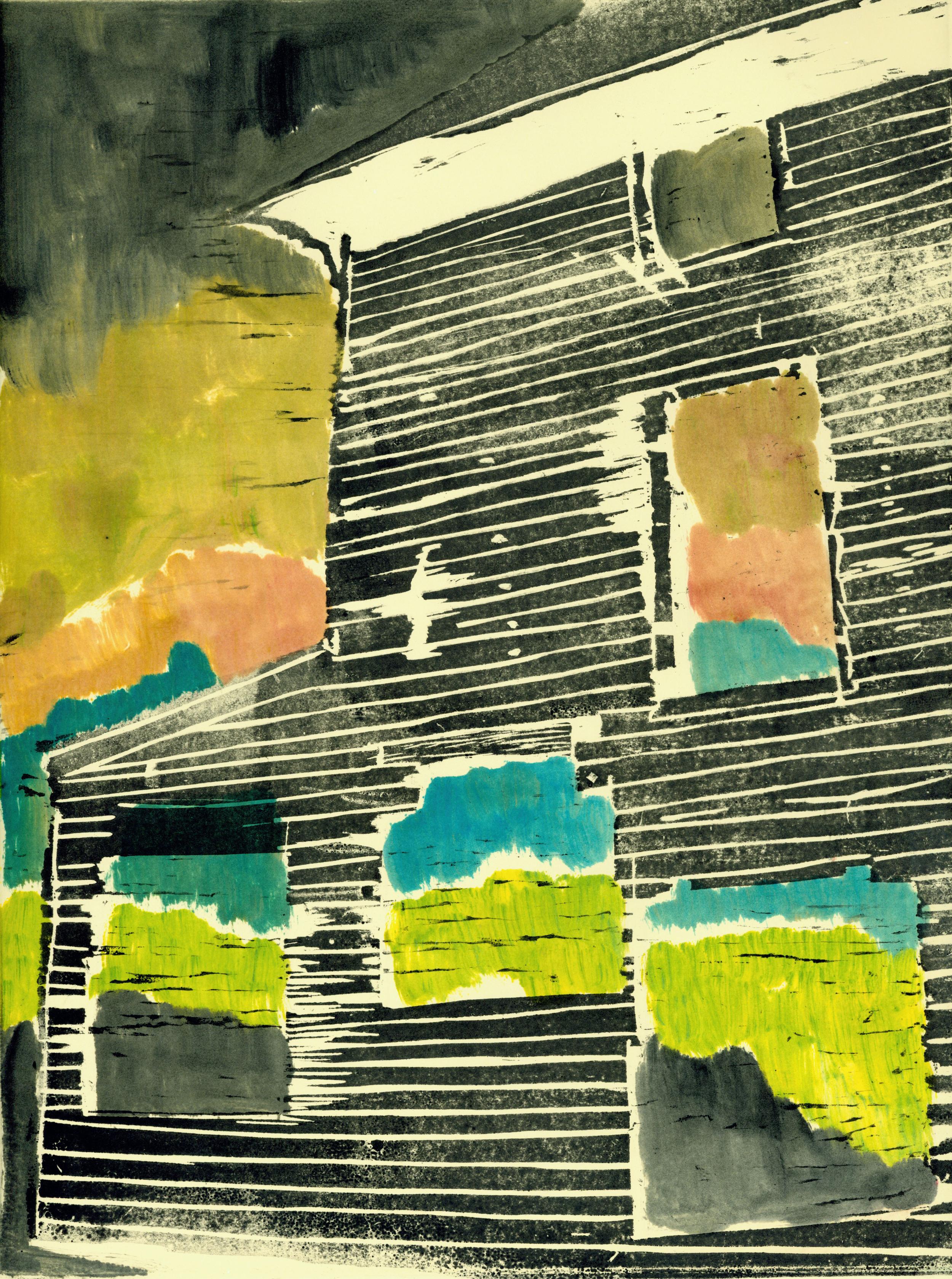 "Untitled, 2010, woodblock print and monoprint, 14"" x 17"""