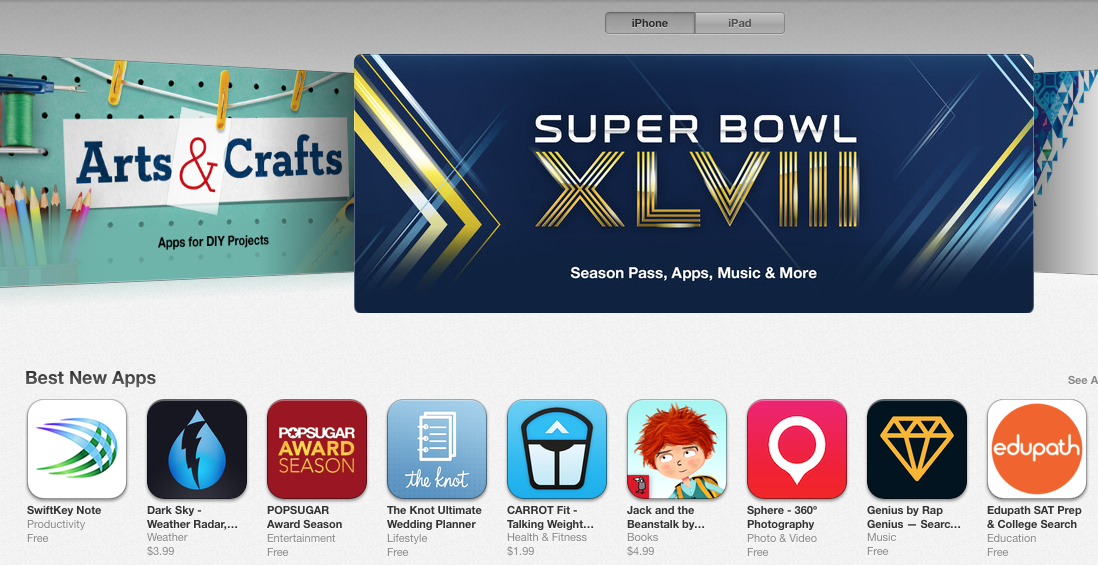While the Super Bowl is still a couple of days away, Sphere won the Super Bowl of app recognition today. Sphere 360º photo sphere app is featured on the U.S. App Store home page among Top 10 Best New Apps.