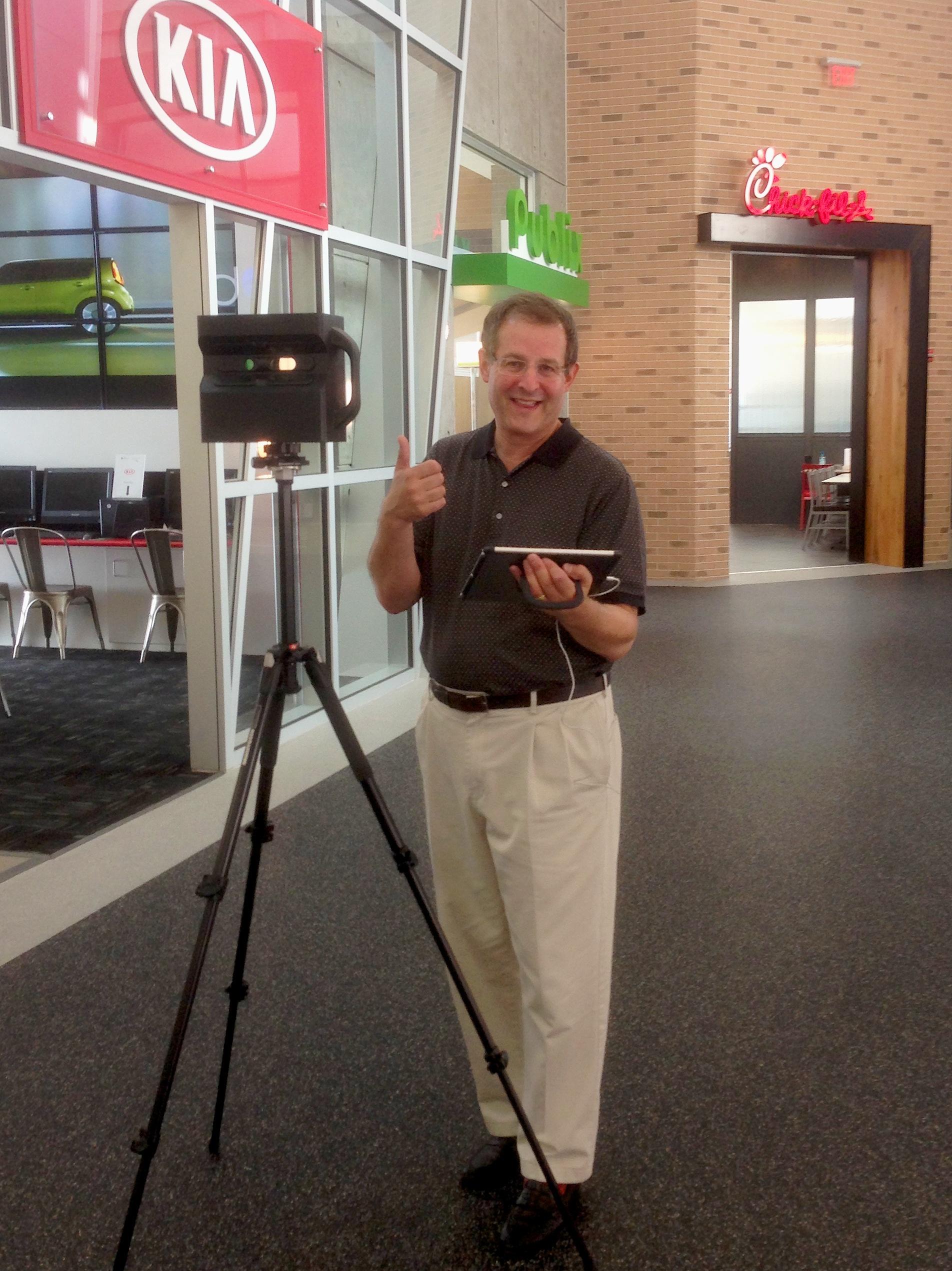 We Get Around Chief Photographer Dan Smigrod – with his Matterport Pro 3D Camera – at Junior Achievement of Georgia at the Georgia World Congress Center in Atlanta. Image courtesy of Rebecca Brooks.
