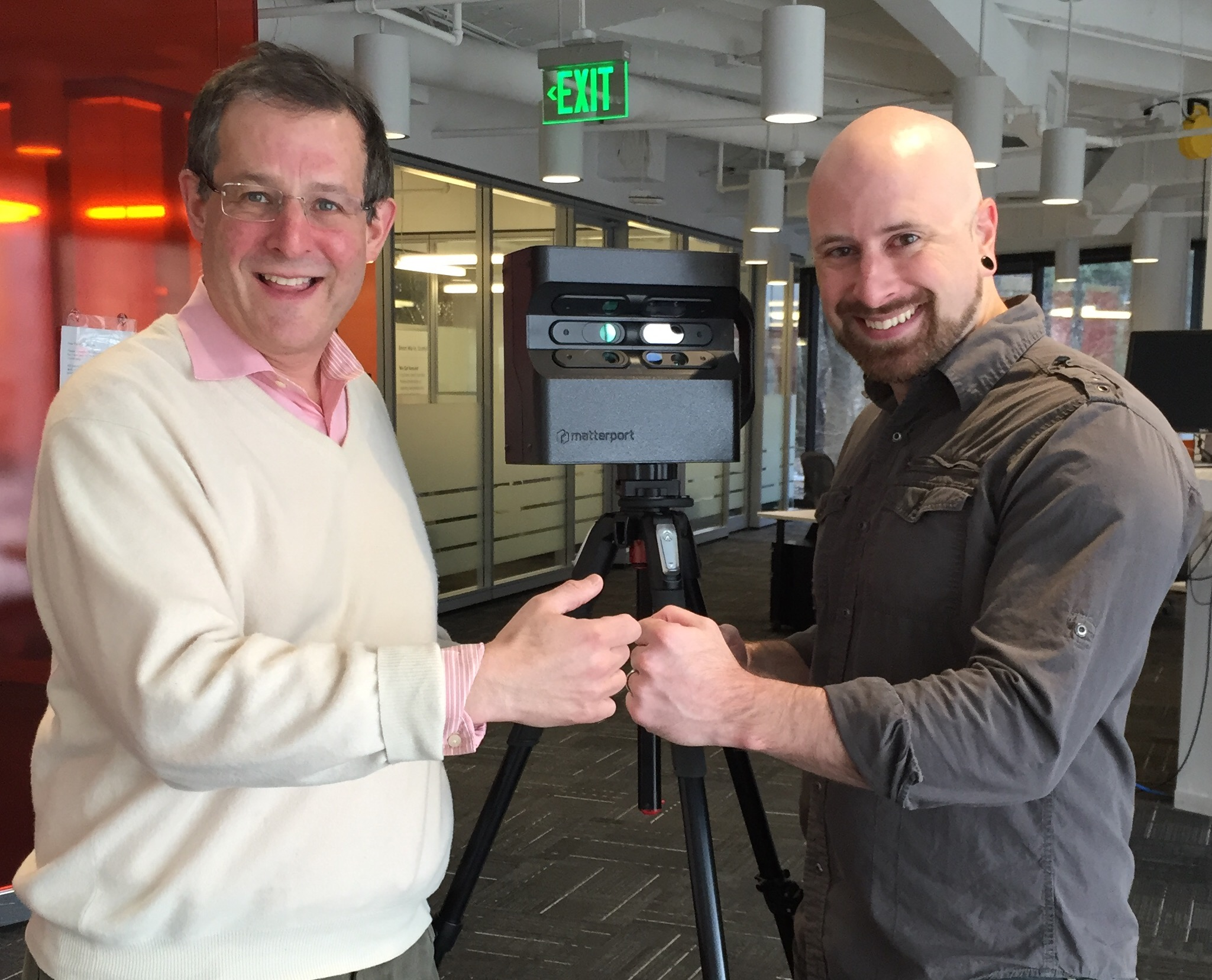 We Get Around Founder, CEO and Chief Photographer Dan Smigrod and Ninja Post Founder Mike Wilt with Matterport 3D Pro Camera | Image by Kerry Abner