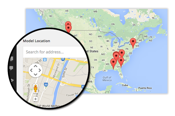 WP3D Models WordPress plug-in uses Google Maps to add push-pins.
