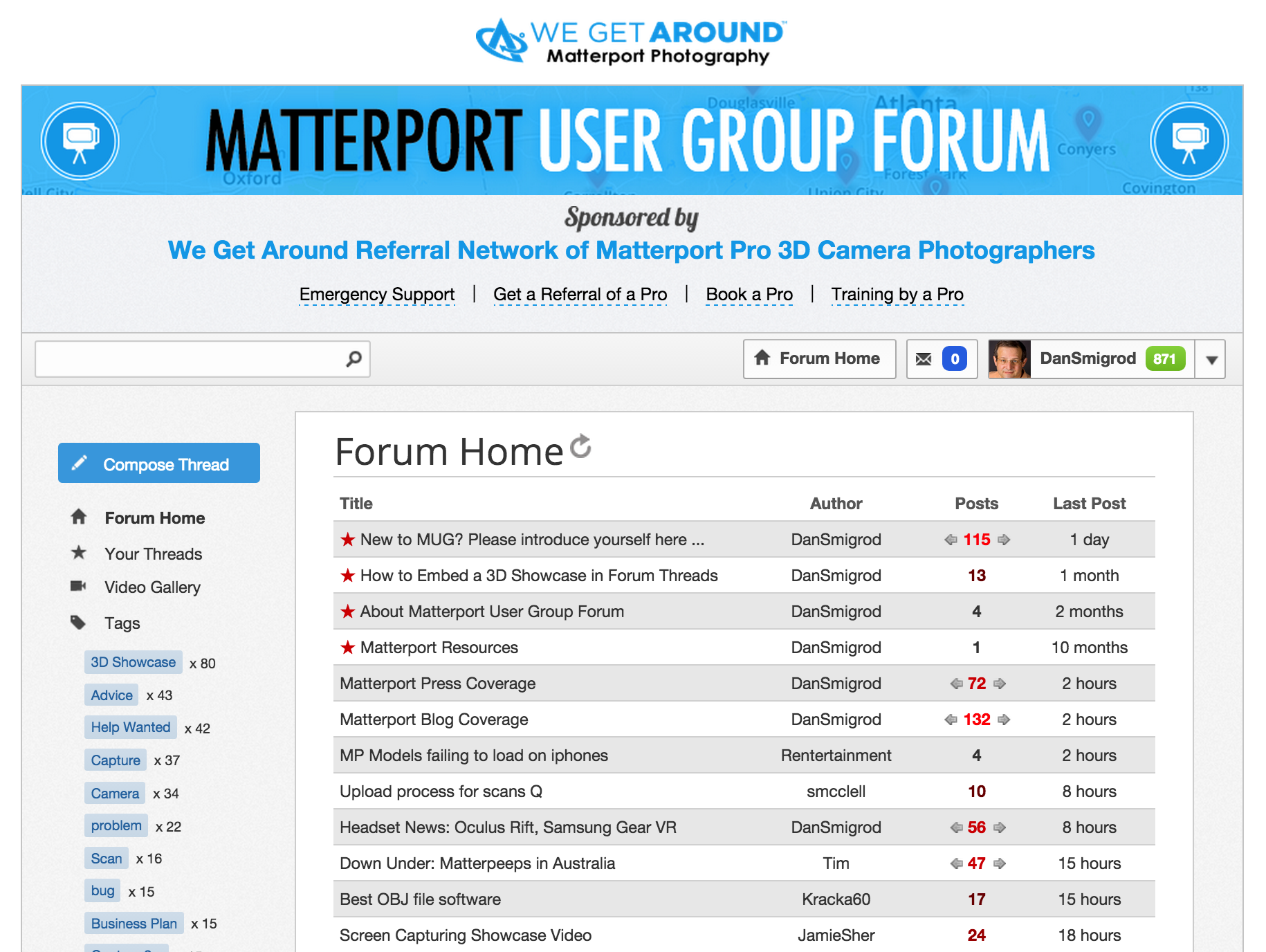 The Matterport User Group Forum (free) is sponsored by the Referral Network of Matterport Pro 3D Camera Photographers and Real Estate Agents – powered by We Get Around. The Forum has hundreds of members from 30 countries.