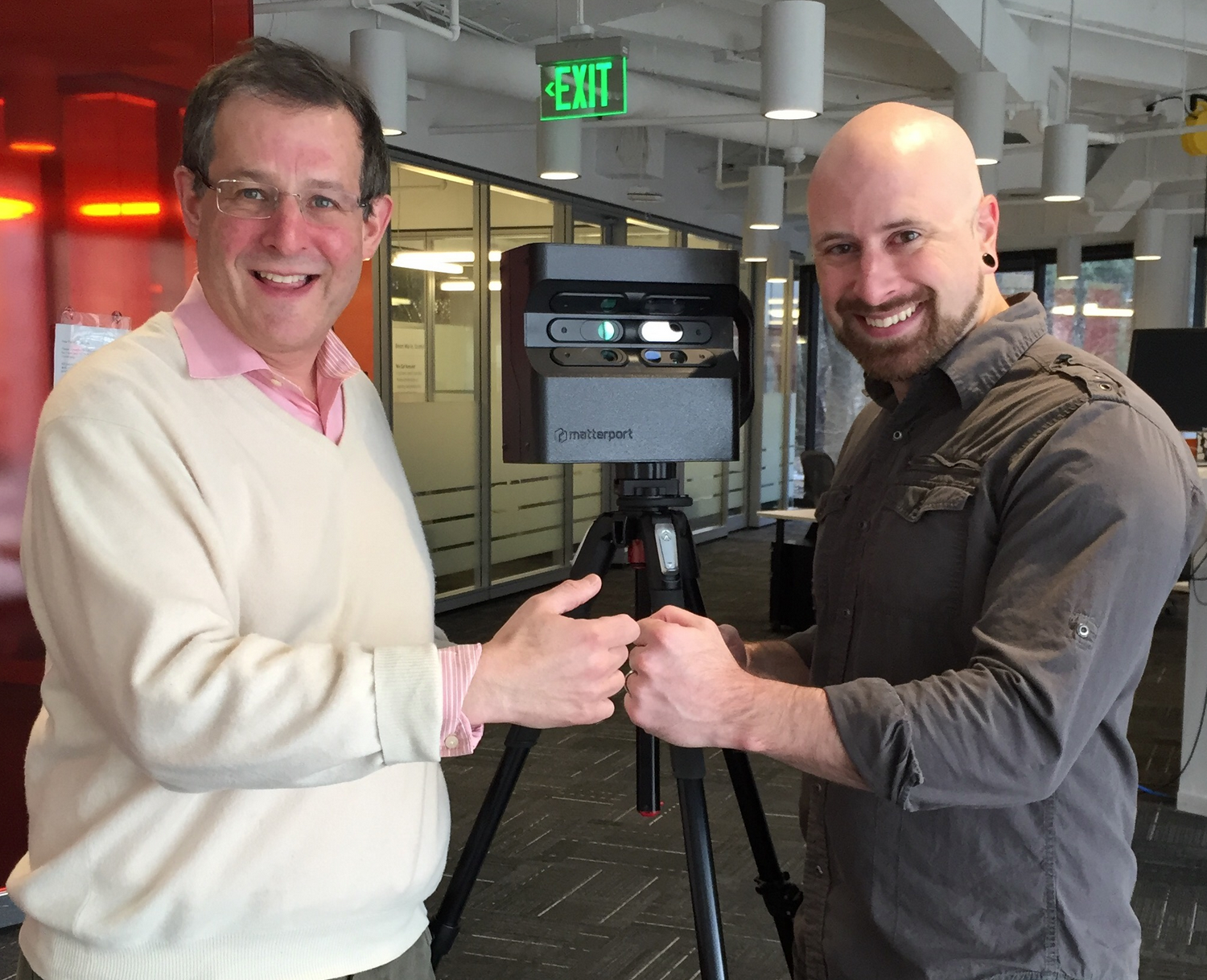 We Get Around Founder, CEO and Chief Photographer Dan Smigrod and Ninja Post Founder Mike Wilt with Matterport Pro 3D Camera | Image by Kerry Abner