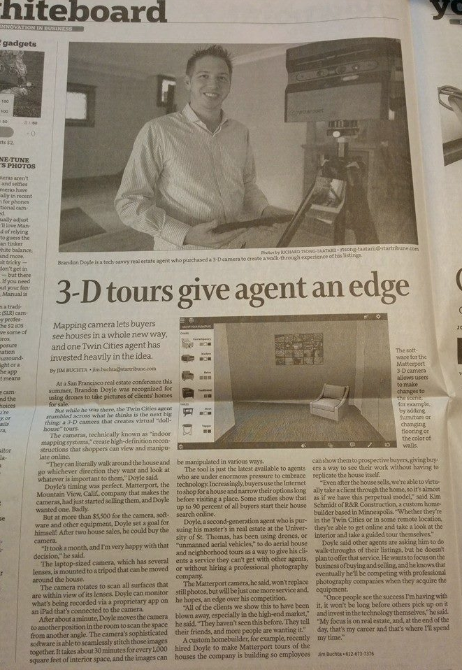 Doyle Real Estate Team with RE/MAX Results Member Brandon Doyle featured in the Star Tribune.