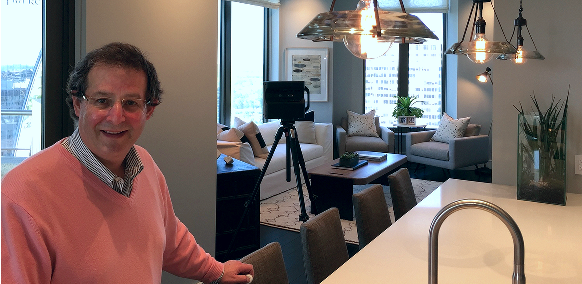 We Get Around Founder, CEO and Chief Photographer Dan Smigrod during a We Get Around WalkAround ™  3D Tour – powered by Matterport – 3D photo shoot at The Residences at Mandarin Oriental, Atlanta.