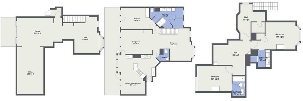Blue-Sketch 2D Floor Plan from Matterport 3D Tour