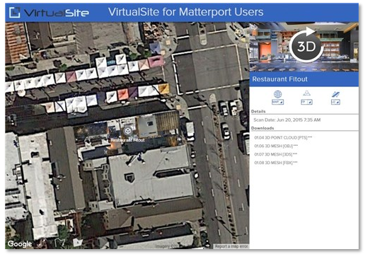 VirtualSite by Veriscian - overlay multiple Matterport Spaces on Google Maps